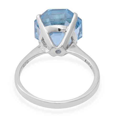 OCTILLION CUT Sky Blue Topaz Solitaire Ring in Rhodium Overlay Sterling Silver 8.43 Ct.