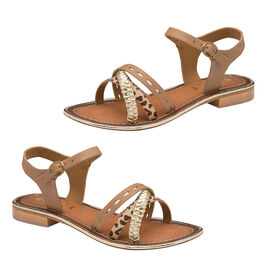 Ravel Cudal Leather Flat Sandals in Birch