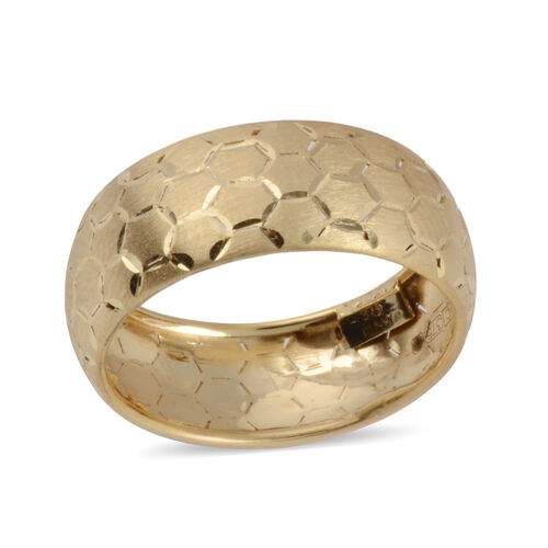 Vicenza Collection Diamond Cut Band Ring in 9K Yellow Gold