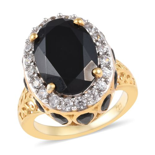 11.75 Ct Boi Ploi Black Spinel and Zircon Halo Ring in 14K Gold Plated Silver 6 Grams