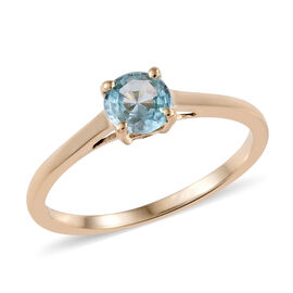 Blue Zircon (0.60 Ct) 9K Y Gold Ring  0.600  Ct.