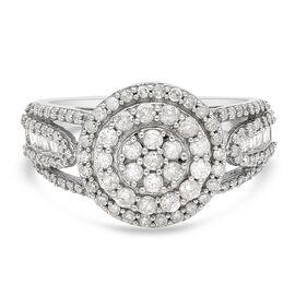 9K White Gold SGL Certified Natural Diamond (G-H/I3) Cluster Ring 1.00 Ct.