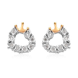 Diamond Heart Crown Earrings in Gold Overlay Sterling Silver