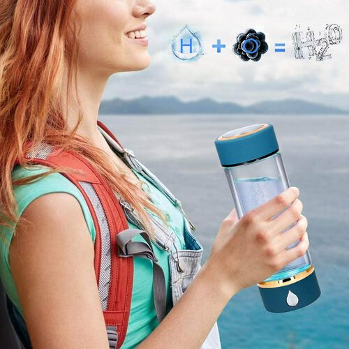 380ml Portable Hydrogen Water Generator Bottle with SPE and PEM Technology (Size 7x21 Cm) - Teal