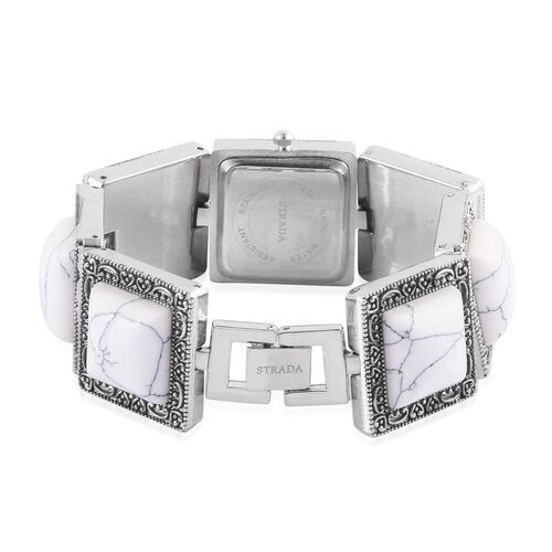 STRADA Japanese Movement White Dial Water Resistant Watch in Silver Tone With Stainless Steel Back and White Howlite Strap 120.000 Ct.