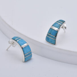 Santa Fe Collection - Turquoise Earrings (with Push Back) in Rhodium Overlay Sterling Silver 2.60 Ct.
