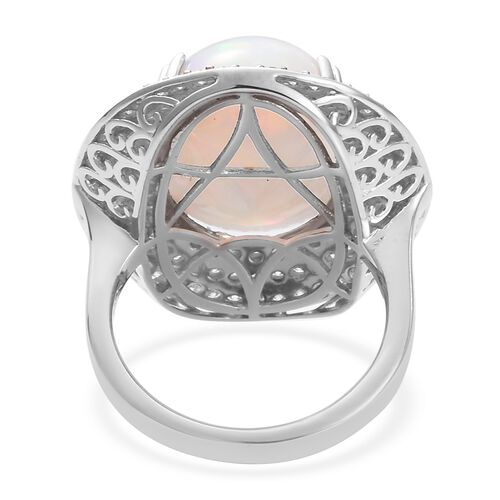 RHAPSODY 950 Platinum AAAA Ethiopian Welo Opal and Diamond Ring 10.50 Ct, Platinum wt 12.00 Gms