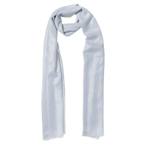 Silver Colour Scarf with Shiny Surface (Size 200x100 Cm)