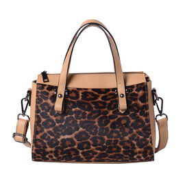 100% Genuine Leather Leopard Pattern Tote Bag (28x12x20cm) with Adjustable Shoulder Strap - Coffee C
