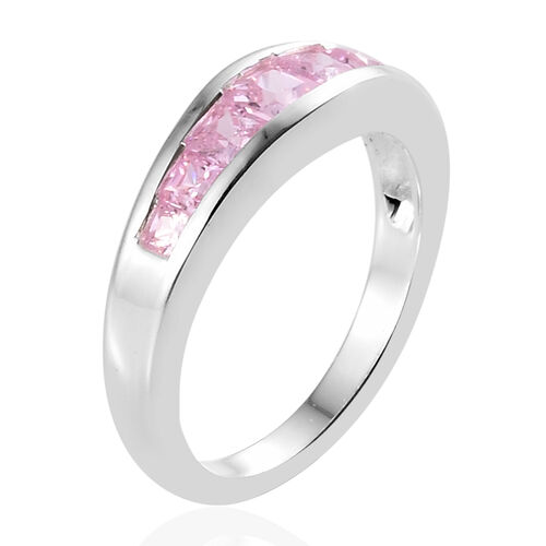 ELANZA Simulated Pink Diamond (Sqr) Half Eternity Ring in Sterling Silver.