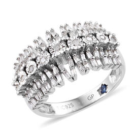 GP 0.35 Ct Diamond and Kanchanaburi Blue Sapphire Cluster Band Ring in Platinum Plated Silver