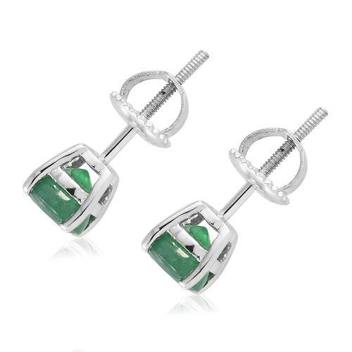 RHAPSODY 950 Platinum AAAA Kagem Zambian Emerald (Rnd 5.5mm) Earrings (with Screw Back) 1.150  Ct.
