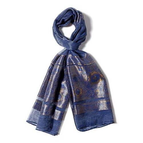 Navy Blue Colour Scarf with Plum Blossom Flower and Golden Stripe Pattern (Size 190x75 Cm)
