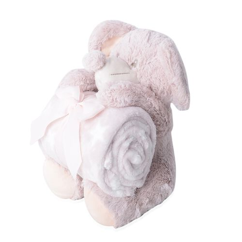 2 Pcs Set- Dusky Pink Mouse with Supersoft Printed Flannel Blanket (75x100 cm) EN71 Certified