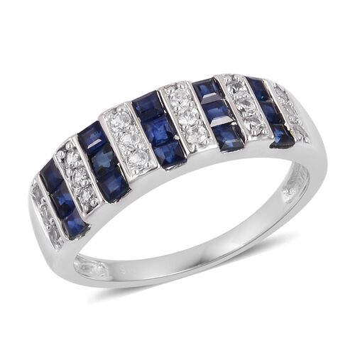 Designer Inspired- 9K White Gold AA Kanchanaburi Blue Sapphire (Princess Cut), Natural Cambodian Zircon Ring 1.080 Ct.