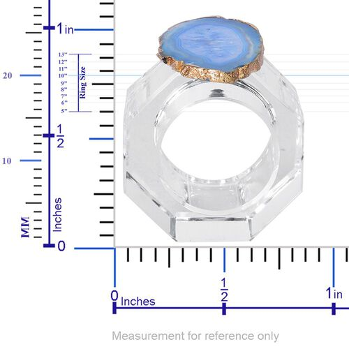 Light Blue Agate Napkin Ring and Coaster in Yellow Gold Tone 525.010 Ct.