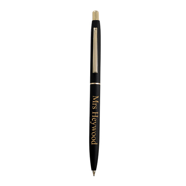 Personalised Engravable Black & Gold Tone Ball Point Pen