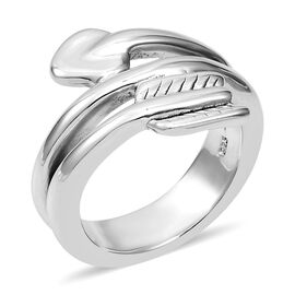 Twisted Arrow Ring in Rhodium Plated Sterling Silver