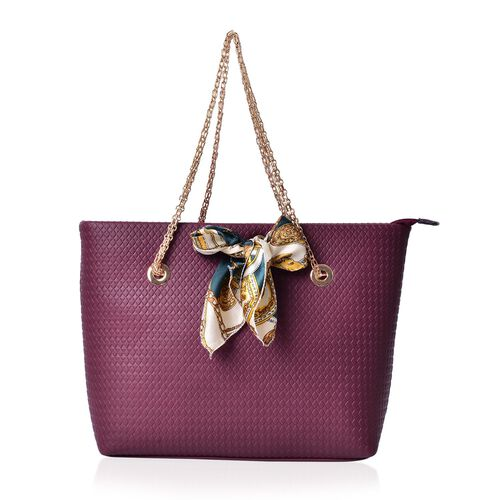 Diamond Pattern Burgundy Colour Large Tote Bag with Chain Strap and Multi Colour Colour Scarf (Size 44x29x15 Cm, 51x47 Cm)