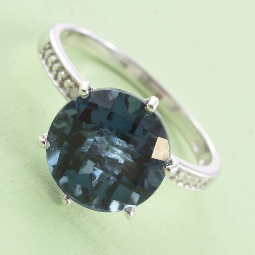 Indicolite Quartz (Rnd), Diamond Ring in Platinum Overlay Sterling Silver 7.000 Ct.