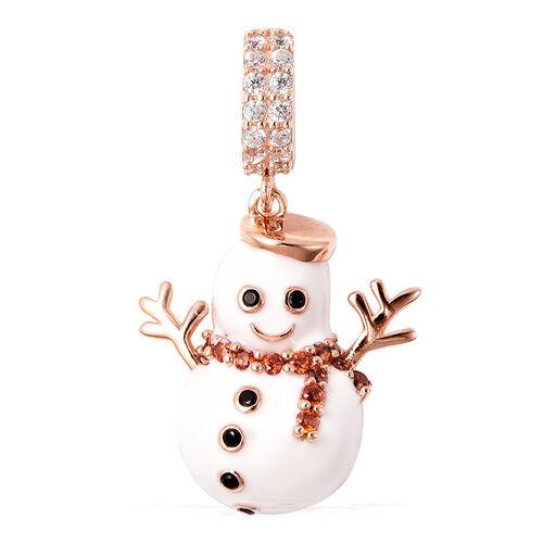 Charmes De Memoire- Simulated Garnet, Simulated Black & White Diamond Snowman Enamelled Charm in Ros
