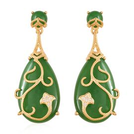 One Time Deal- Rare AAA Green Jade and Natural White Cambodian Zircon Earrings (with Push Back) in Y