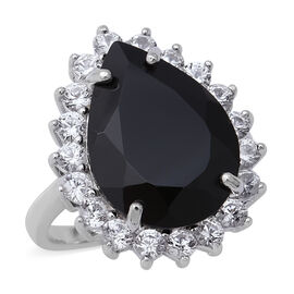13.82 Ct Natural Boi Ploi Black Spinel and Zircon Halo Ring in Rhodium Plated Silver 5.30 grams