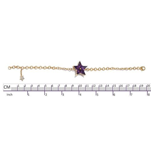 GP Amethyst (Kite), Natural Cambodian Zircon and Kanchanaburi Blue Sapphire Star Bracelet (Size 7.5 with Half inch Extender) in 14K Gold Overlay Sterling Silver 5.500 Ct. Silver wt 6.80 Gms.