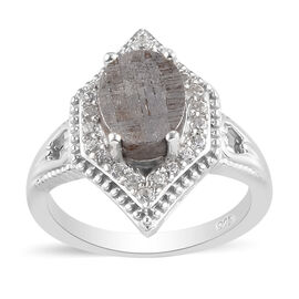 Meteorite and Natural Cambodian Zircon Ring in Platinum Overlay Sterling Silver 6.00 Ct.