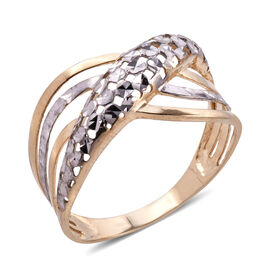 Royal Bali Collection 9K Yellow and White Gold Diamond Cut Ring Gold Wt 1.91 Grams