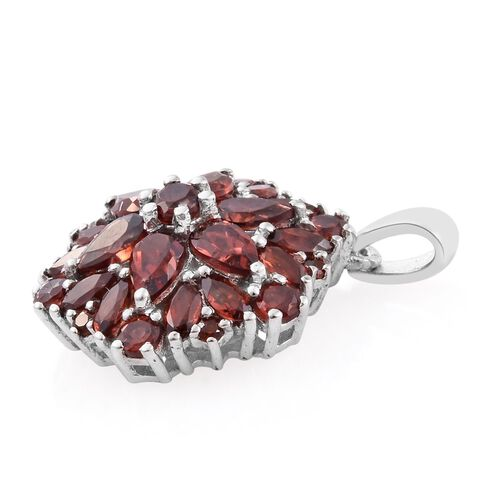 Mozambique Garnet (Pear) Floral Pendant in Platinum Overlay Sterling Silver 3.750 Ct.