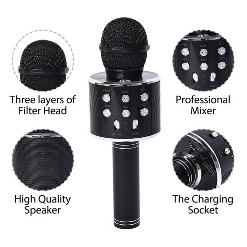 Wireless Karaoke Microphone Speaker with Bluetooth & USB Cable - Black