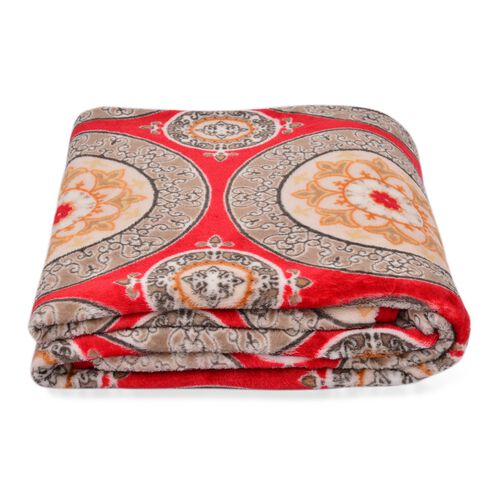 Superfine 290 GSM Microfibre Printed Flannel Blanket with Suzani Design and Knitted Border 150X200 cm