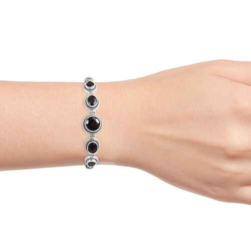 Elite Shungite (Rnd) Bracelet (Size 7 with 0.5 inch Extender) in Sterling Silver, Silver wt 10.00 Gms