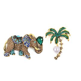 Set of 2  - Simulated Pearl and Multi Colour Austrian Crystal Elephant and Tree Brooch in Gold Tone