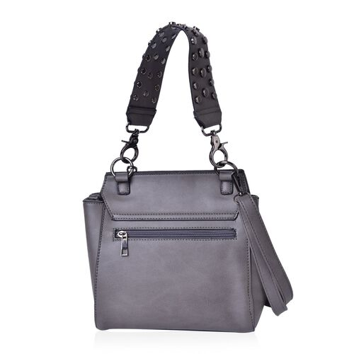 Grey Colour Tote Bag with Rivets Studded Handle and Adjustable and Removable Shoulder Strap (Size 26X23X9 Cm)