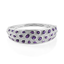 Limited Edition-Lusaka Amethyst (Ovl, Rnd and Pear), Natural Cambodian Zircon Bangle (Size 7.5) in Platinum Overlay Sterling Silver 13.000 Ct, Silver wt 37.02 Gms