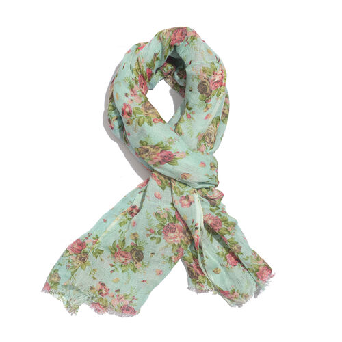 60 % Linen and 40% Modal Turquoise and Multi Colour Floral Handblock Printed Scarf (Size 180x70 Cm)