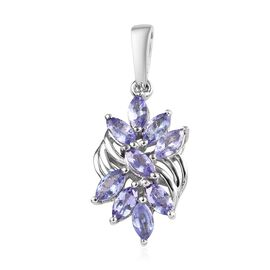 1.15 Ct Tanzanite Cluster Pendant in Platinum Plated Sterling Silver