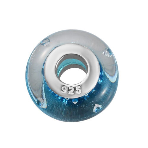 Charmes De Memoire Aqua Murano Style Glass Bead Charm in Platinum Overlay Sterling Silver