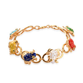 GP - Russian Diopside and Blue Sapphire Enamelled Frog Link Bracelet (Size 7.5) in 14K Gold Overlay