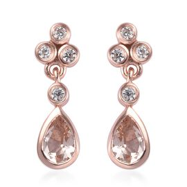 0.55 Ct Marropino Morganite and Zircon Drop Earrings in Rose Gold Plated Sterling Silver