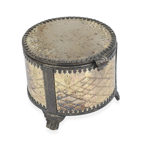 Home Decor - Antique Mercury Glass Bowl Scented Candle Jasmine Fragrance (Size 10x8.6 Cm)
