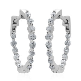 9K White Gold SGL Certified Diamond (Rnd) (I3 /G-H) Hoop Earrings (with Clasp) 0.50 Ct.