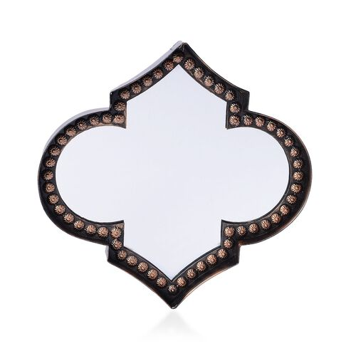 Clover Framed Decorative Metallic Wall Mirror (Size 24.5x24.5 Cm)
