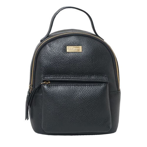 Assots London BETTY Womens Zip Top Mini Leather Backpack with Adjustable Shoulder Strap (Size 24x21x