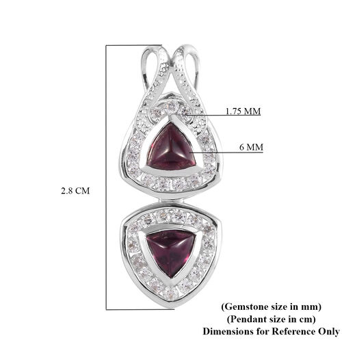 Rhodolite Garnet and Natural Cambodian Zircon Pendant in Platinum Overlay Sterling Silver 3.00 Ct.