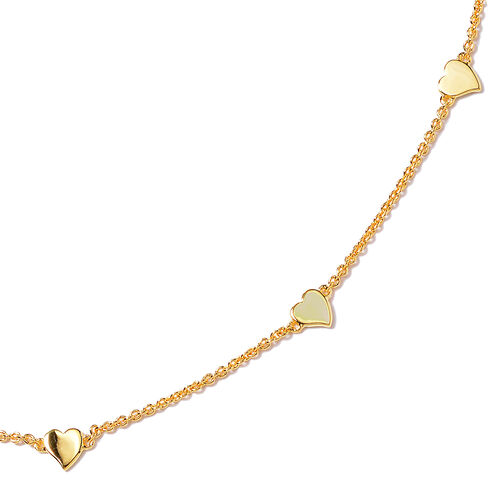RACHEL GALLEY Heart Collection - Yellow Gold Overlay Sterling Silver Heart Station Necklace (Size 26), Silver wt 12.03 Gms