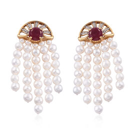 GP African Ruby (Rnd), Freshwater Pearl and Kanchanaburi Blue Sapphire Earrings (with Push Back) in 14K Gold Overlay Sterling Silver 45.000 Ct.