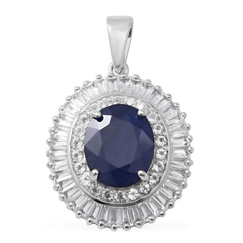 8.11 Ct Blue Sapphire and White Topaz Halo Pendant in Rhodium Plated Sterling Silver